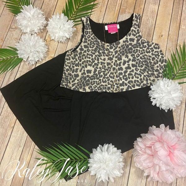 Leopard Draped Sleeveless Maxi