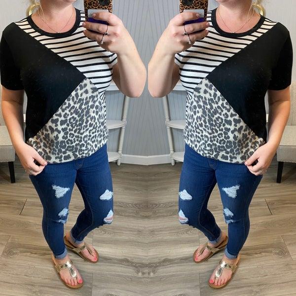 Black Leopard Stripe Diagonal Top