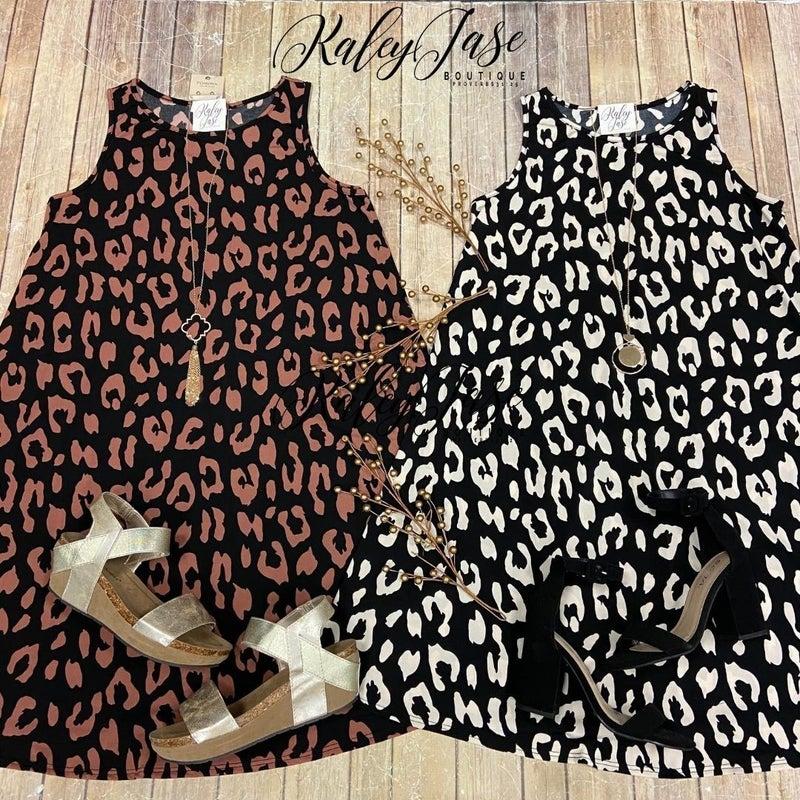 Sleek Leopard Swing Dress