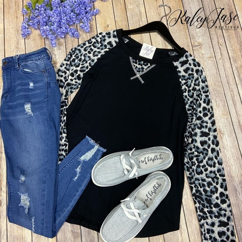 SIL Black Grey Wild Leopard Raglan Top *Final Sale*