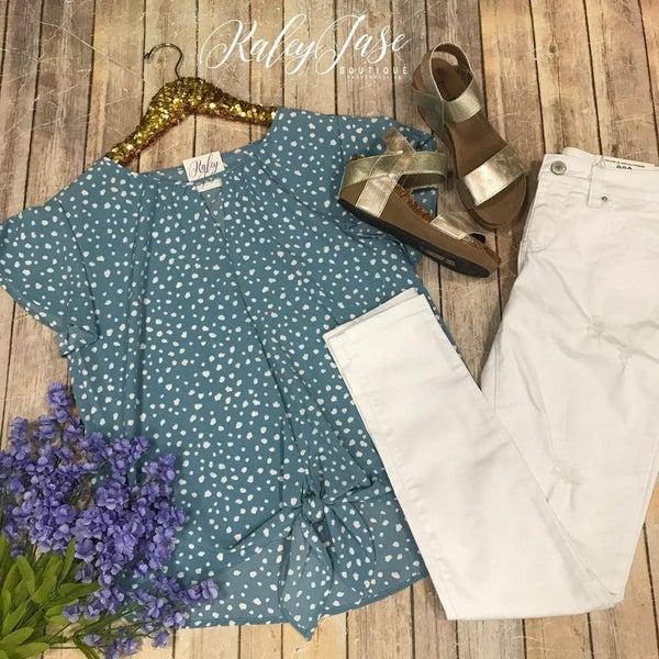 Slate Spotted Keyhole Dressy Tie Top