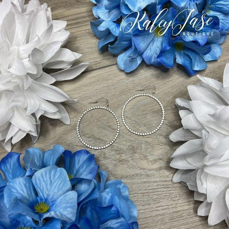 Silver Detailed Circle Earrings -B5
