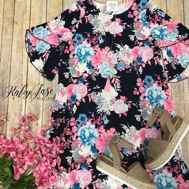 HM Navy & Pink Floral Dress
