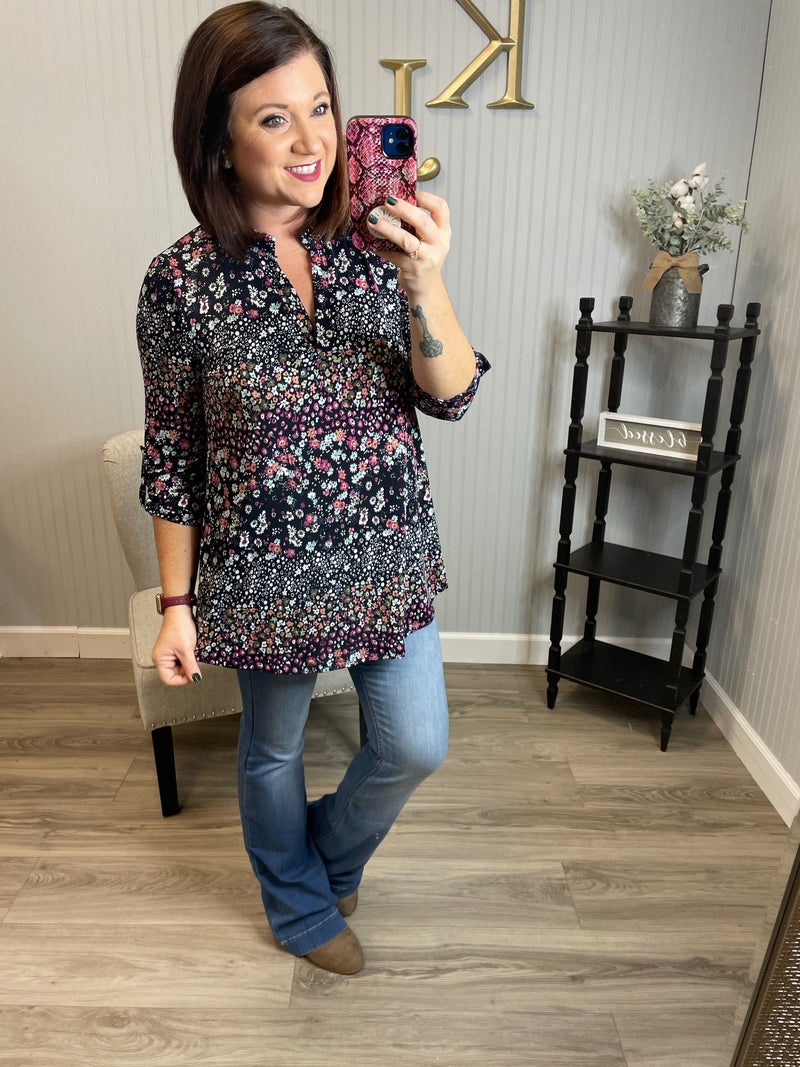 SIL Navy Fuchsia Little Flower Gabby Top