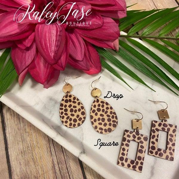 Wood Leopard Dangle Earrings -A3
