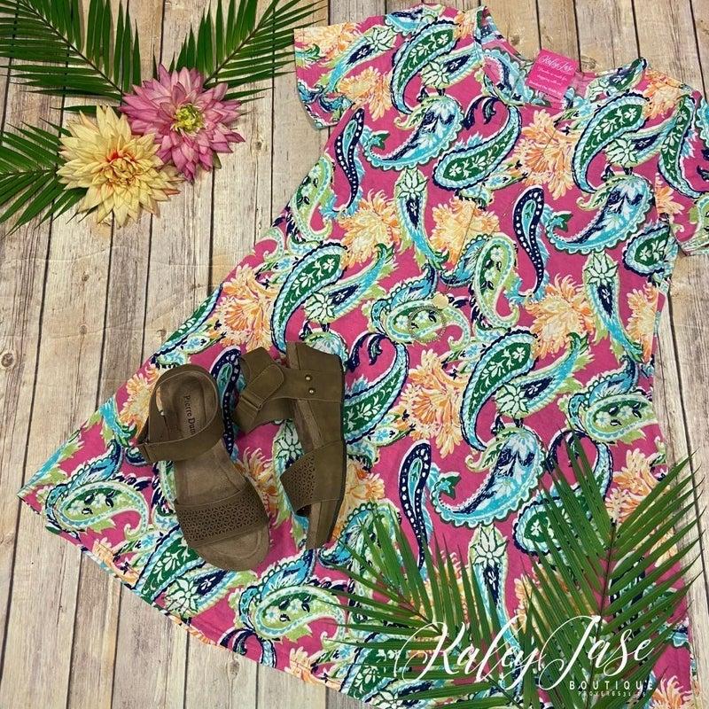 Fuchsia Paisley Dress