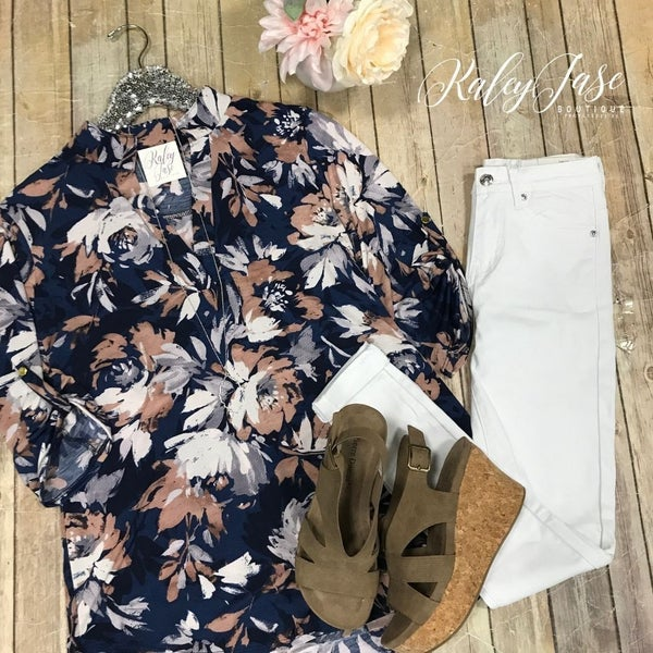 Navy Taupe Floral Painted  Vera Top