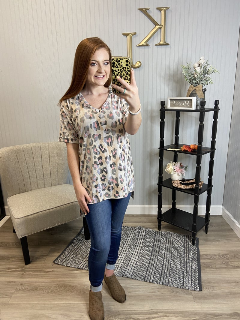 Taupe Pink Leopard Vneck Cuff Sleeve
