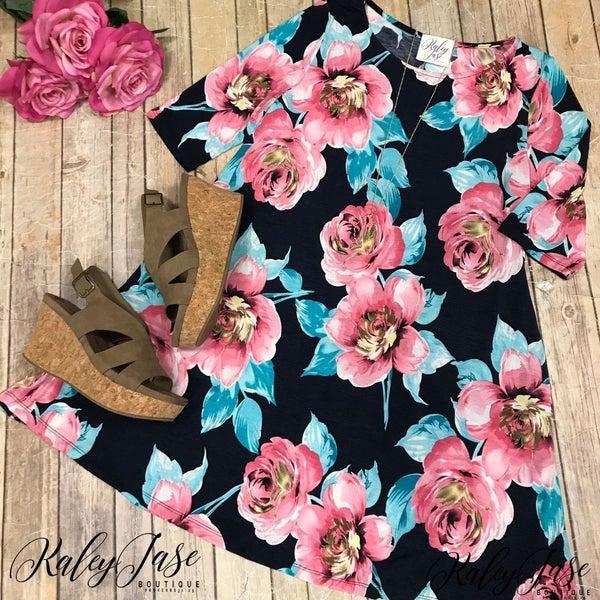Navy Pink Floral Dress