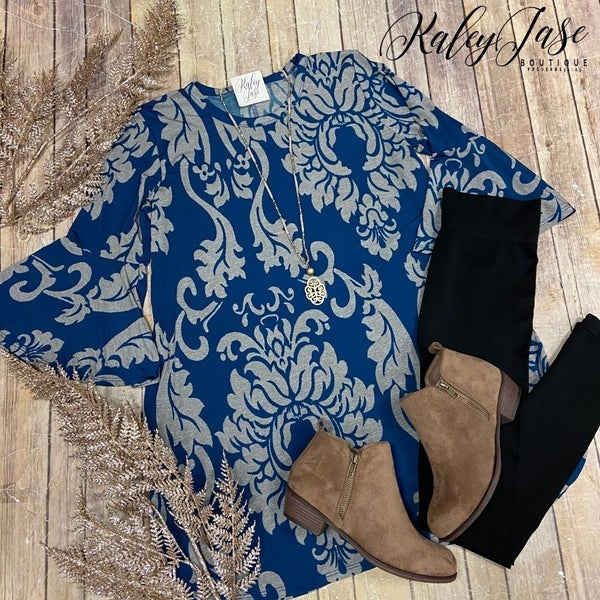 Teal Mocha Damask Bell Sleeve Tunic