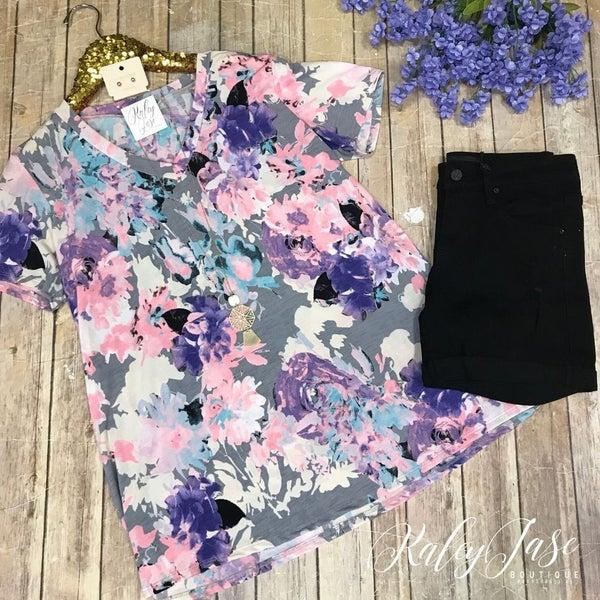 Grey Lavender Bright Floral Vneck