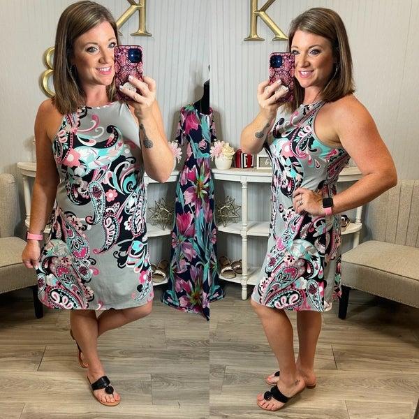 Aryeh Grey Black Swirl Paisley Tie Back Halter Dress