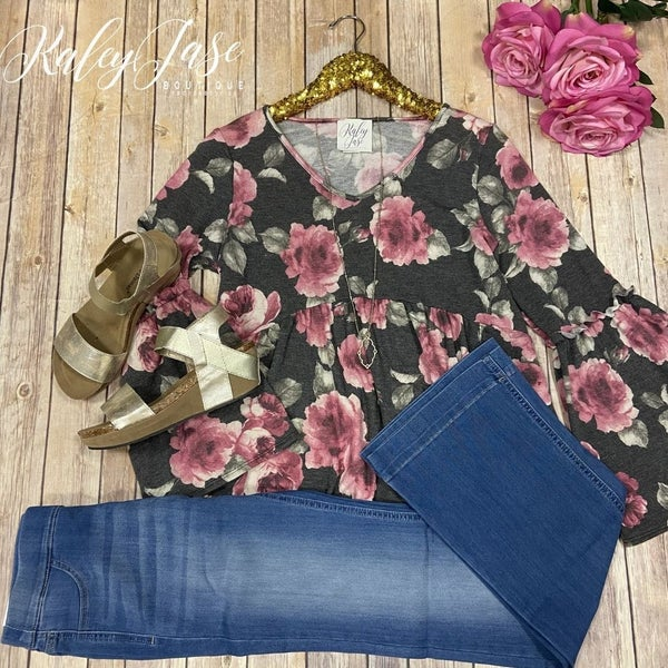 SIL Charcoal Rose Floral Bell Sleeve Top
