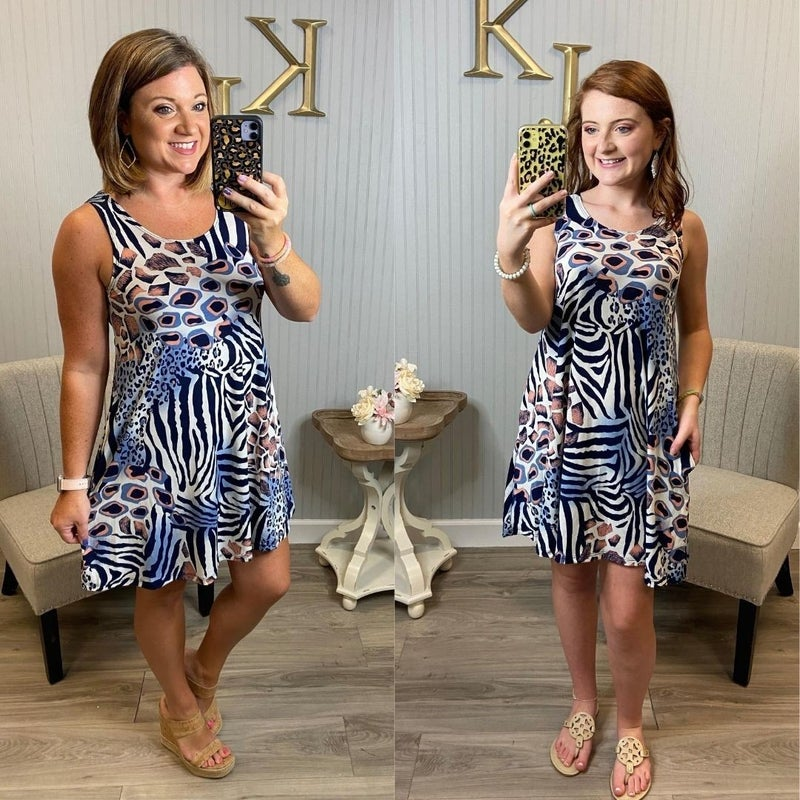 Animal Abstract Sleeveless Dress