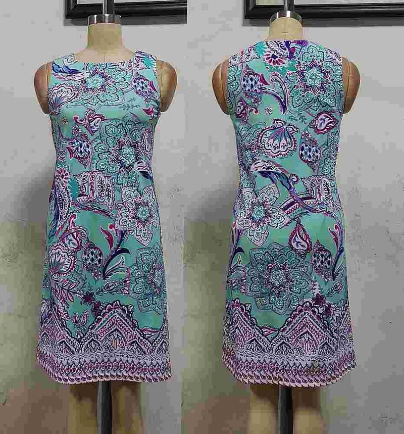 Mia Mint Flower Paisley Sleeveless Shift Dress