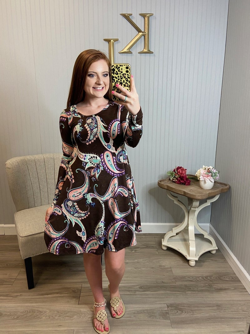 Brown Paisley LS. Dress