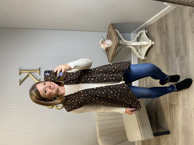 Brown Leopard Waffle Knit Vest