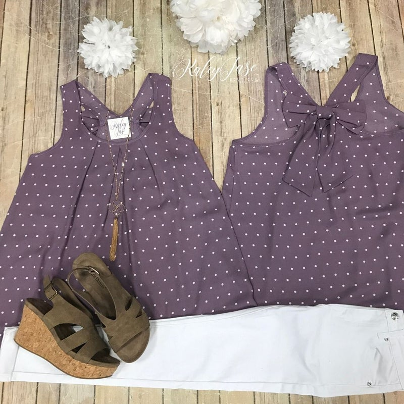 Lavender Polka Dot Bow Back