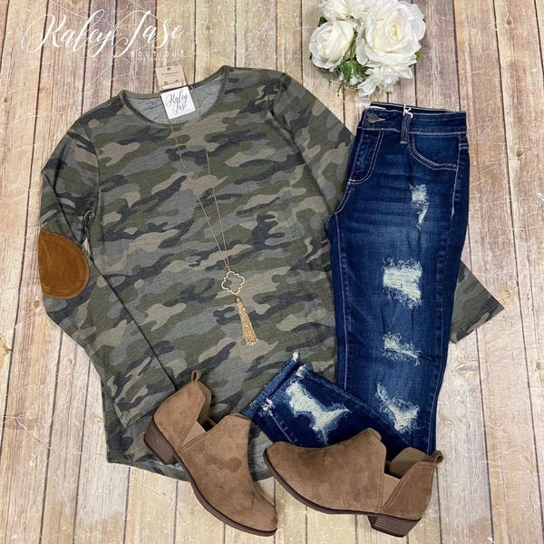 Camo LS Patch Sleeve Top