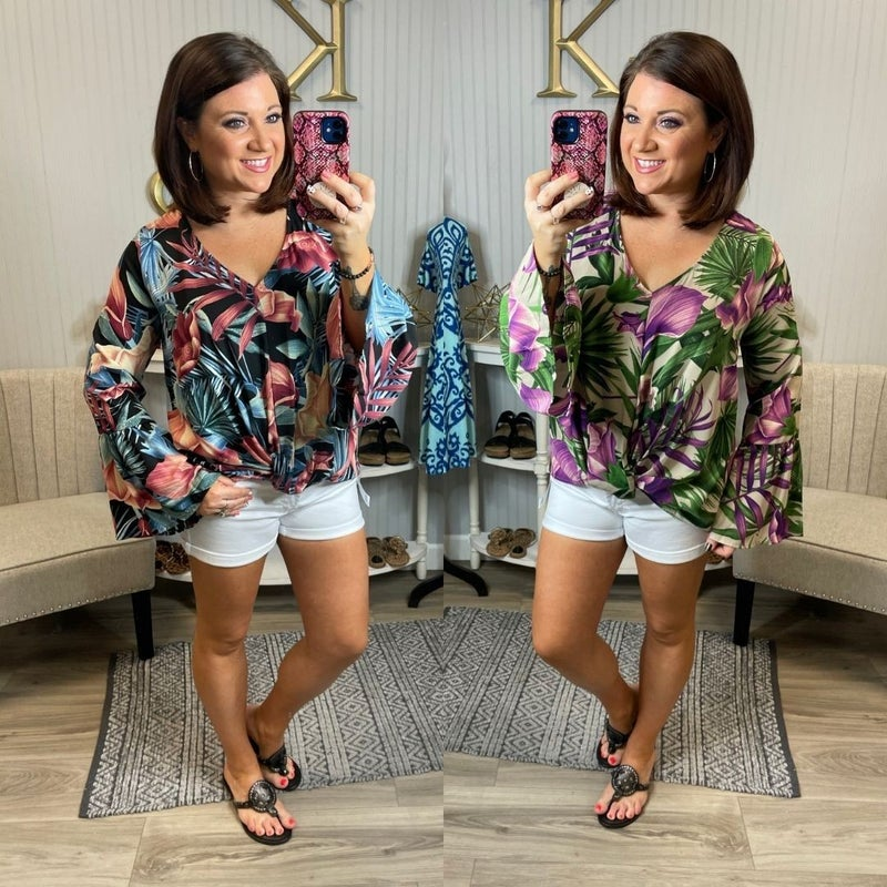 Floral Printed Dressy Blouse Bell Sleeve Top