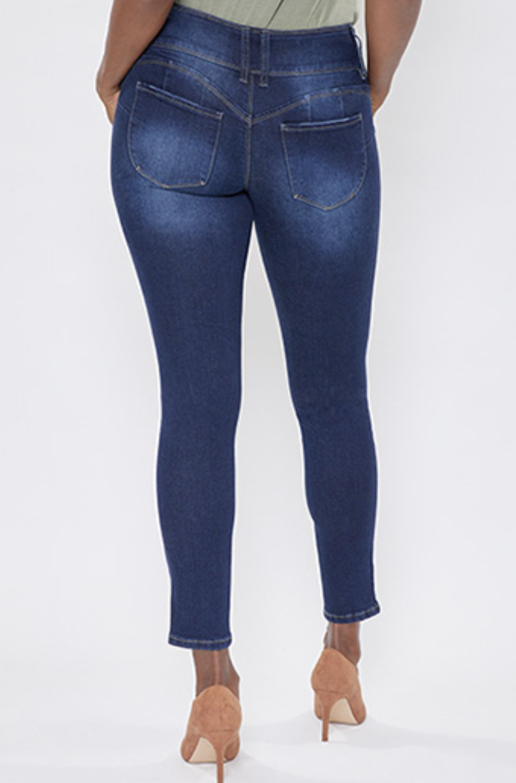 WBB Dark Wash Triple Button Jeans