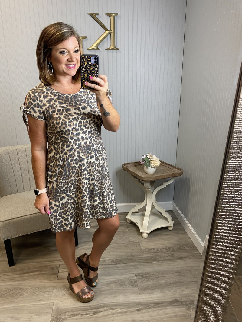 Leopard Bow Sleeve Dress