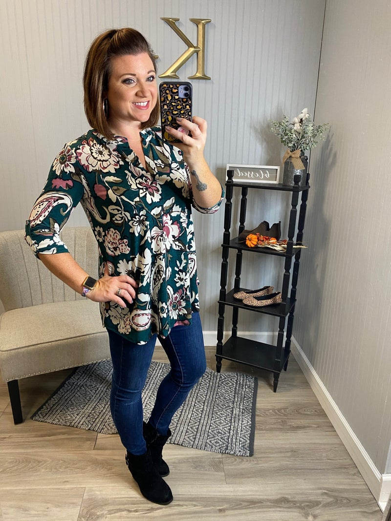 SIL Teal Floral Paisley Gabby Top