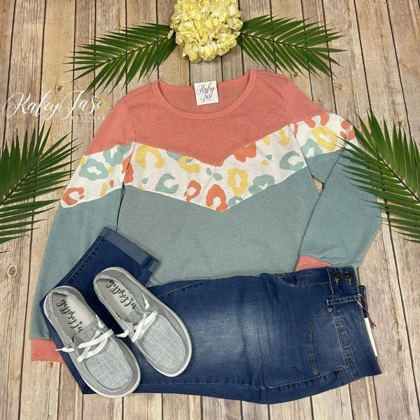 Mint Coral Chevron Leopard Top