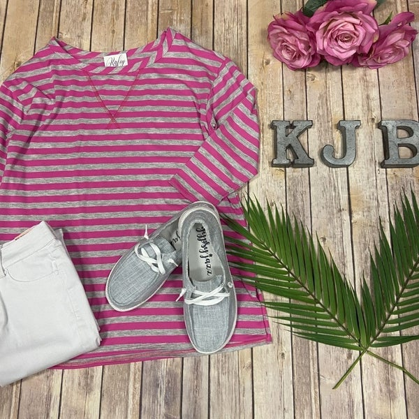 HM Fuchsia Grey Casual Stripe Raglan Top