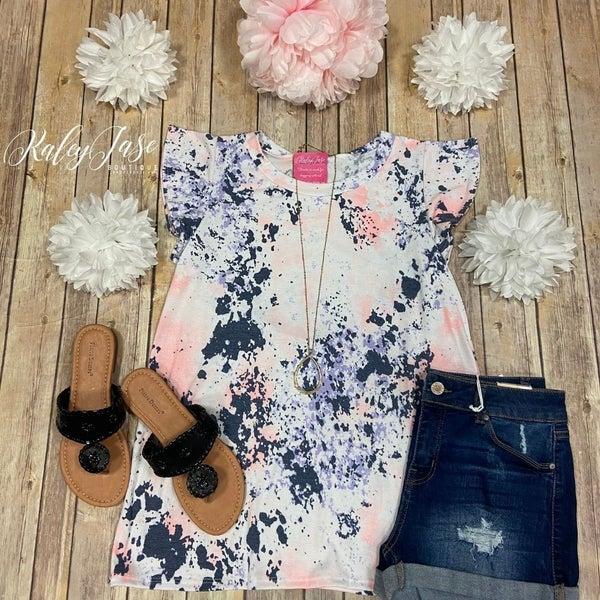 SIL Blush Lavender Splatter Ruffle Sleeve Top