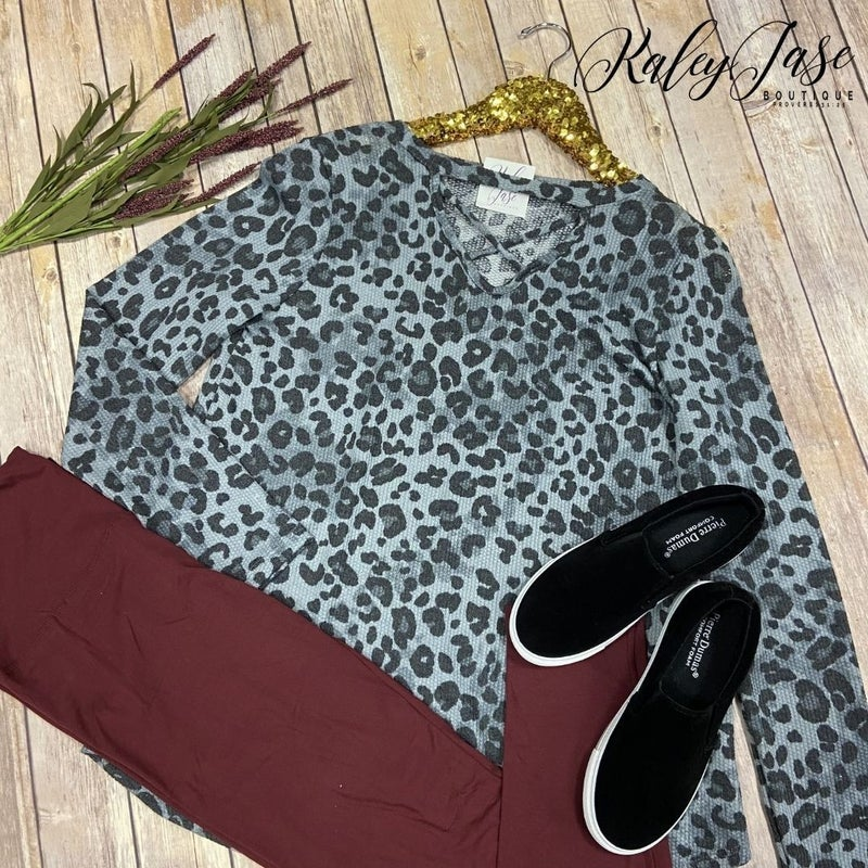 SIL Soft Thermal Leopard Criss Cross Top