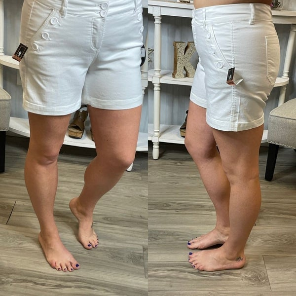 One5One White Side Button Front Shorts