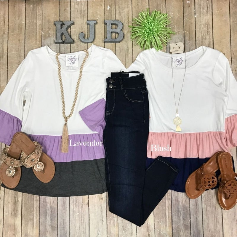 Colorblock Ruffle Top