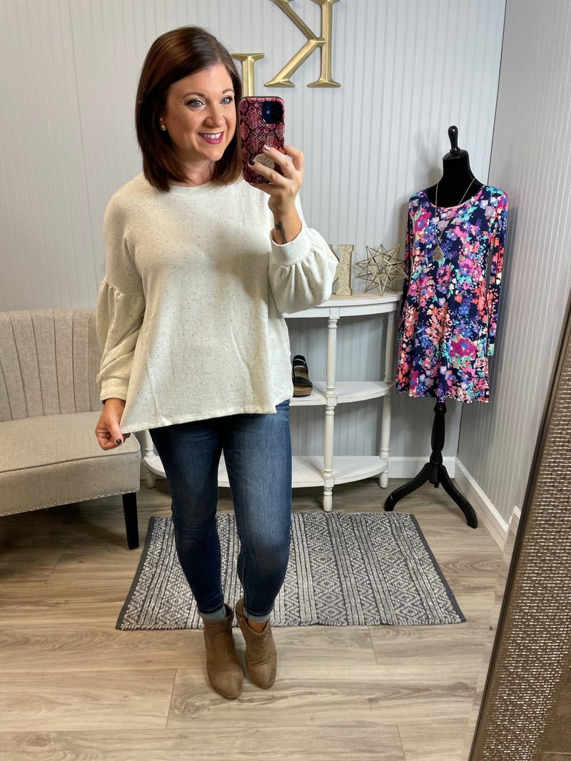Ivory Confetti Open Back Sweater