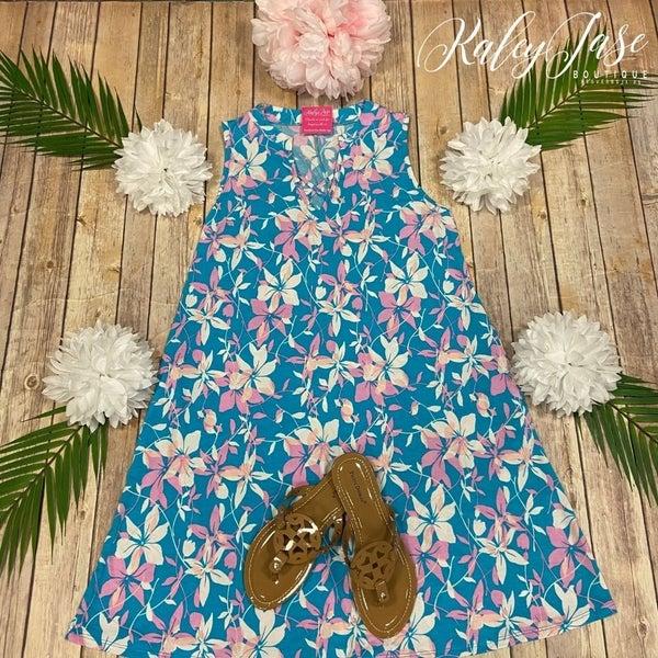 HM Blue Pink Flower Criss Cross Gabby Dress