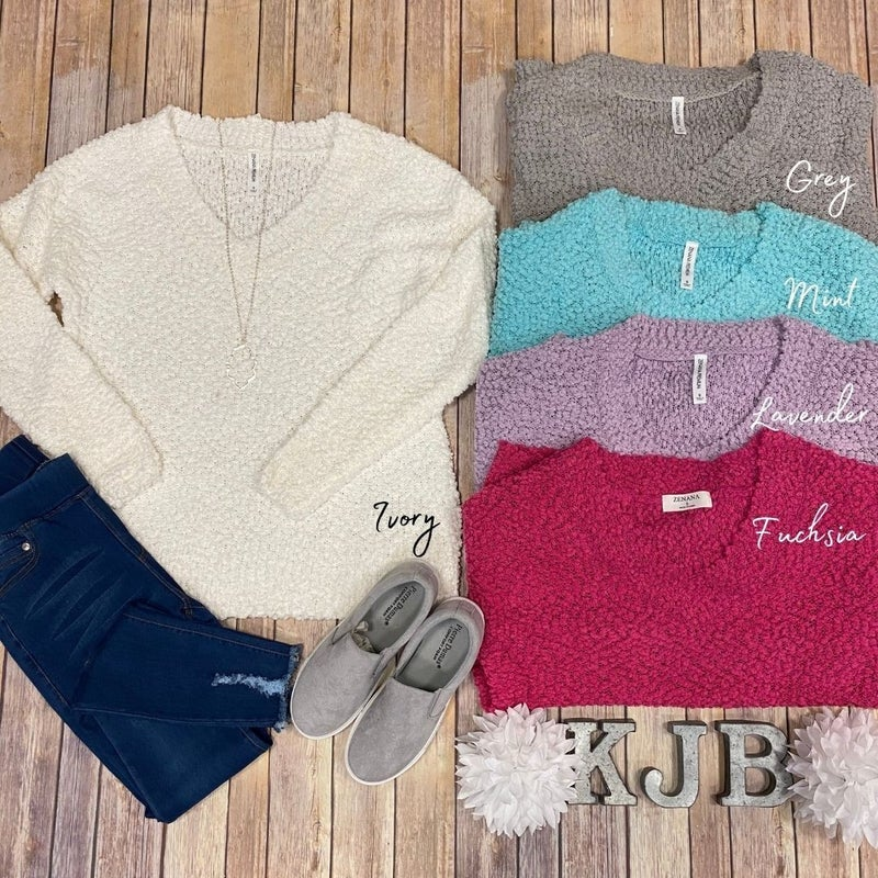 LS Popcorn V-Neck Sweater