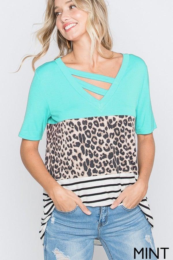 Mint Leopard Stripe Colorblock Diagonal Ladder Top