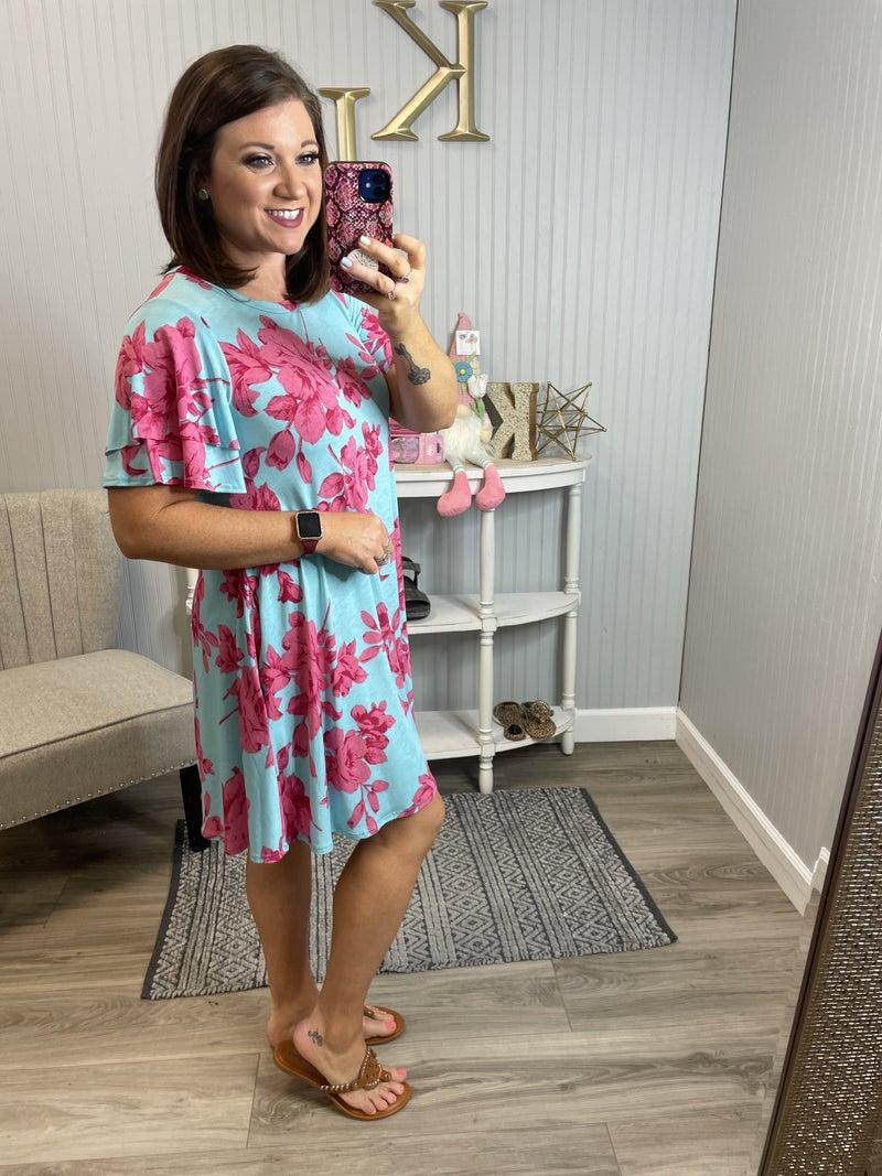 Blue Fuchsia Pink Floral Dress