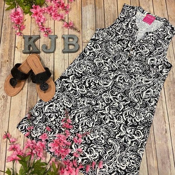 Aryeh Black White Design Button Front Dress