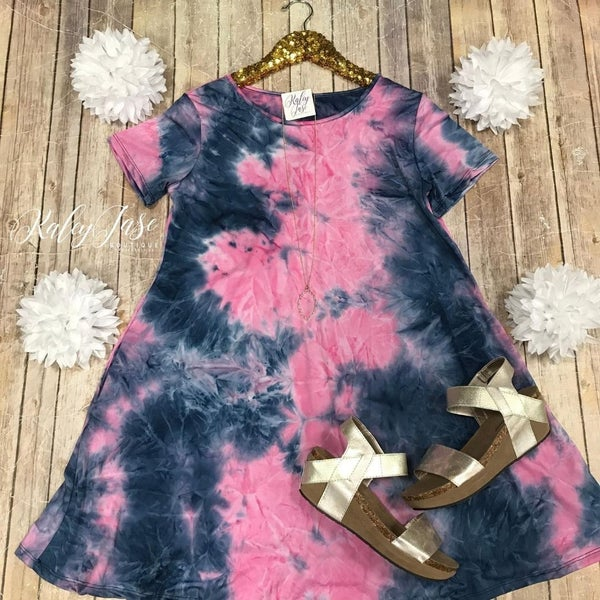 Navy Pink Tie Dye Dress