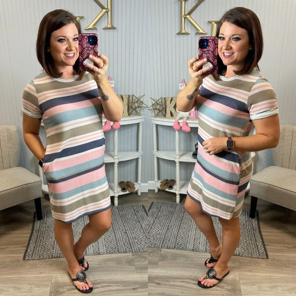 VB Navy Blush Striped Dress