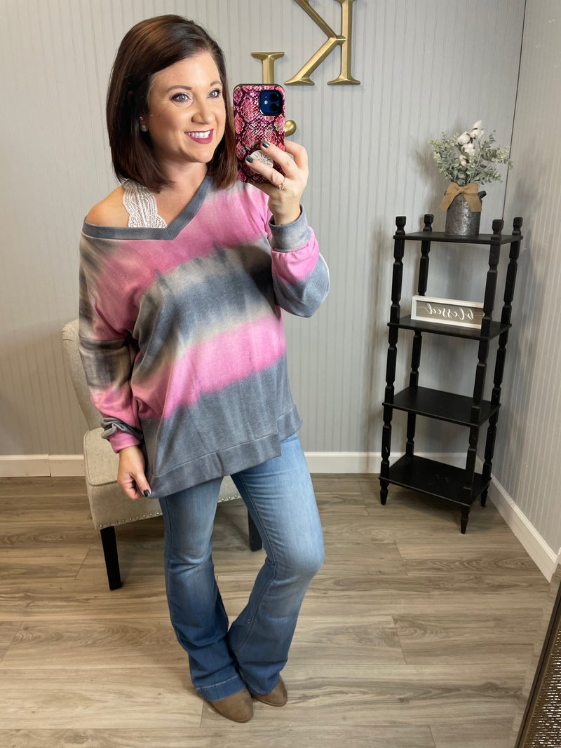 SIL Charcoal Pink Abstract  Top