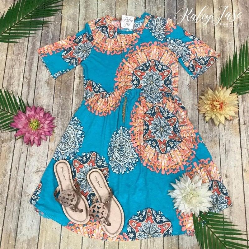 Mint CoralFlower Print S/S Dress