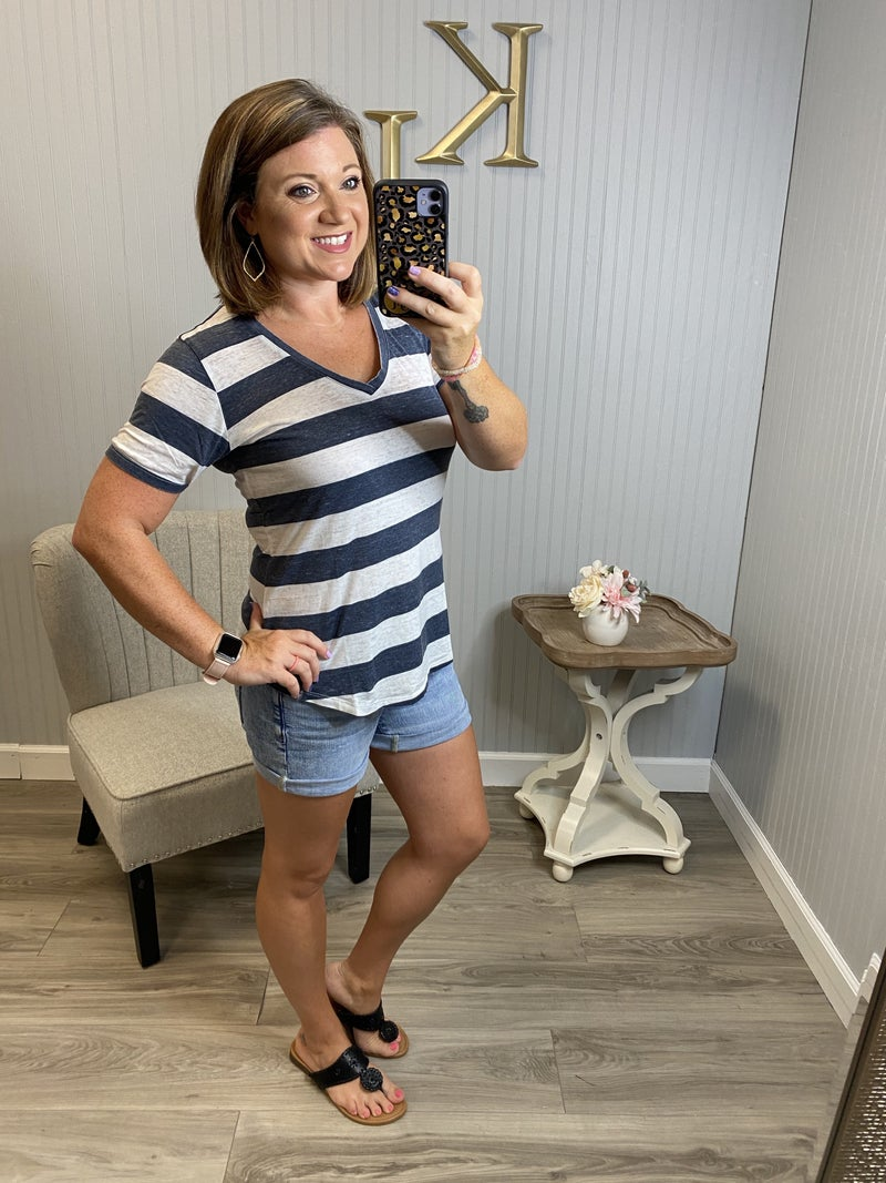 Deal Stripe Wash Short Sleeve Top