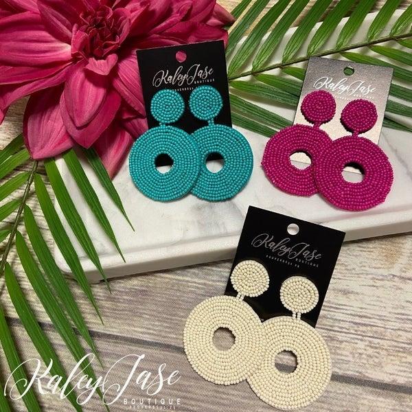 Circle Beaded Earrings -D6