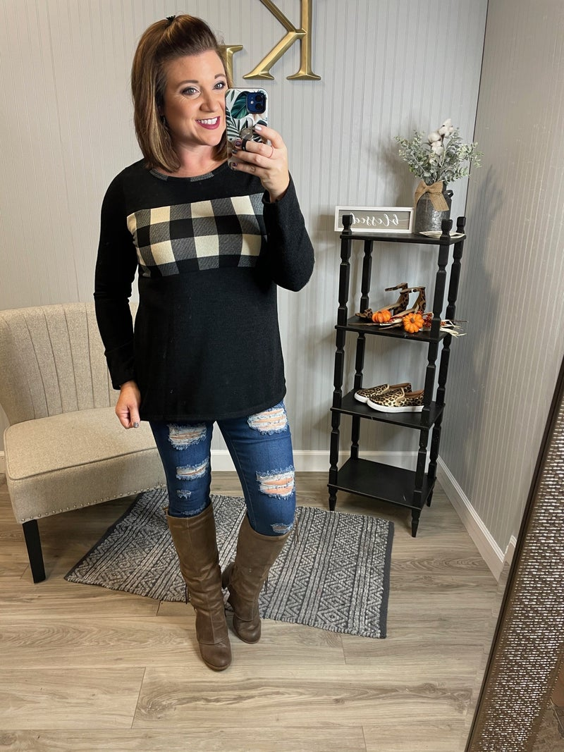Black Plaid Colorblock Elbow Patch Sleeve Top