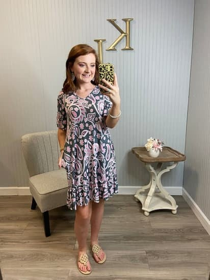 Grey Pink Paisley V Ruffle Sleeve Dress