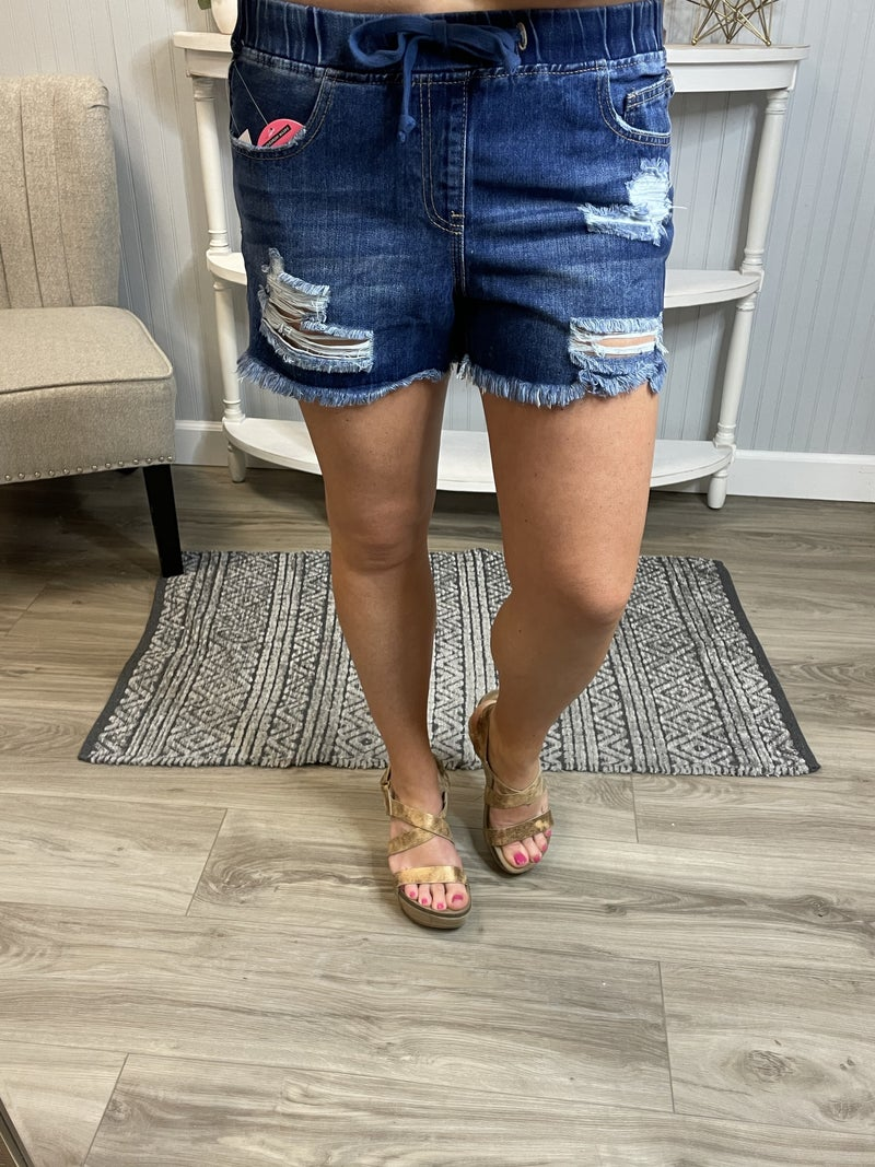 YMI Dream Pull On Distressed Frayed Jean Shorts