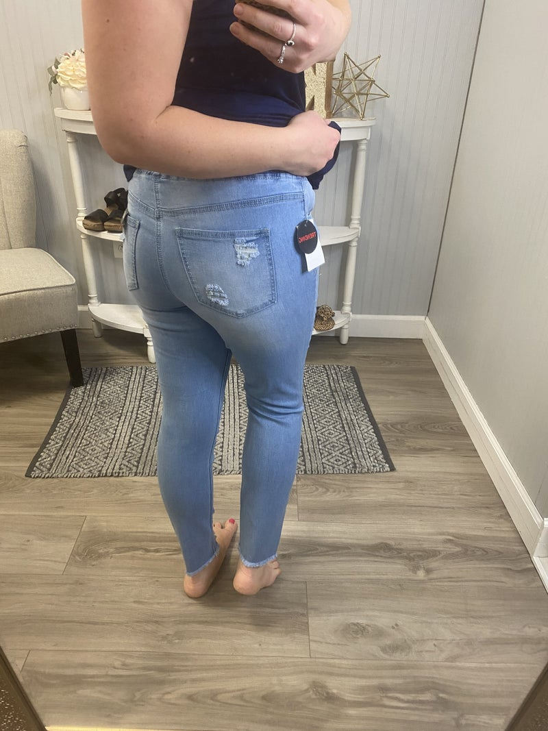 YMI Light Wash Ripped Pull On Jeans