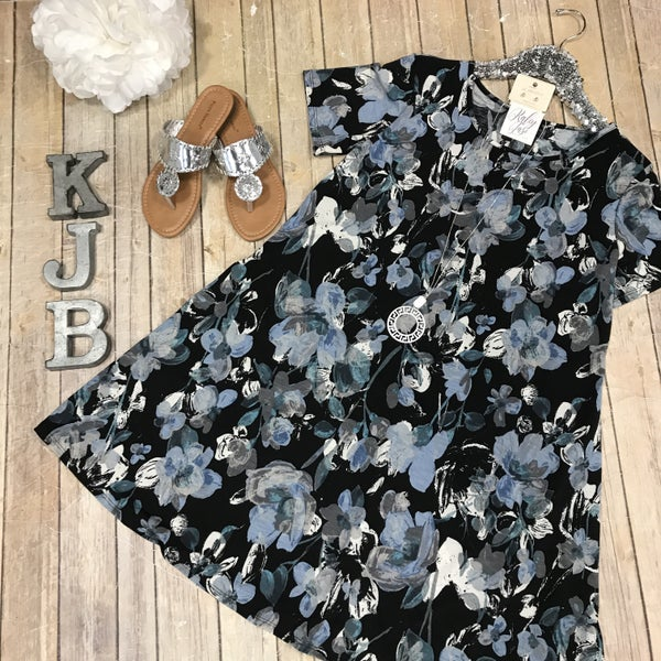 Black/ Ivory Blue Floral Dress